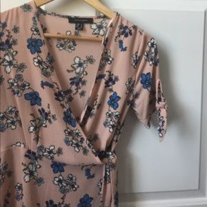 Pink with blue flowers wrap top